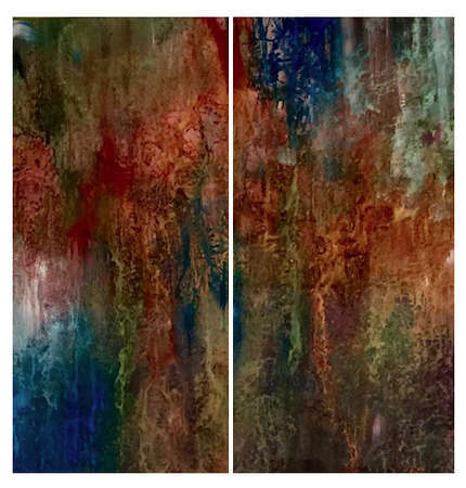 "Untitled (Back Painted Glass) 60"" x 60"" (Diptych)