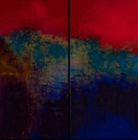 "Red Reign 60"" x 60"" (Diptych)"