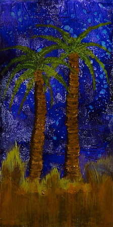 "Midnight at the Oasis (Resin Coated Painted Glass) 36"" x 60"""