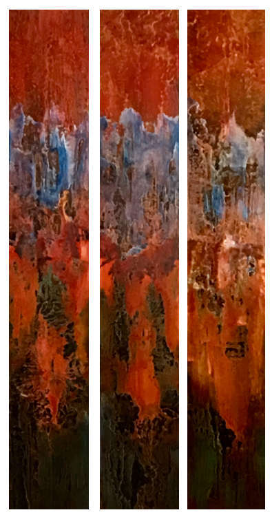 "Tres Nuevo  (Resin Coated Painted Glass)  24"" x 48"" (Triptych)  SOLD"