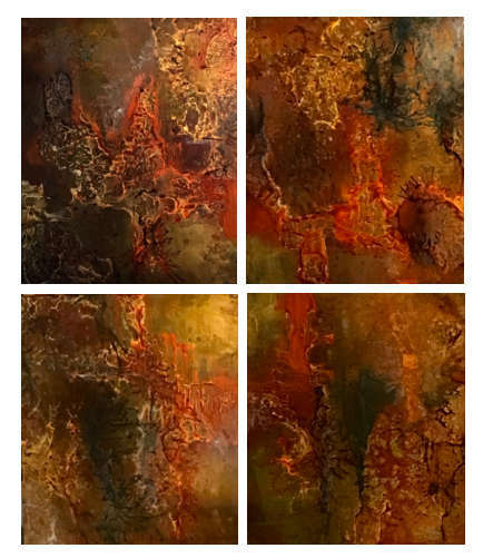 "Four Ground (Resin Coated Painted Glass) 60"" x 72""  (Quad) SOLD"