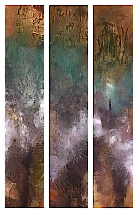 "Untitled (Resin Coated Painted Glass) 24"" x 40""  (Triptych)"