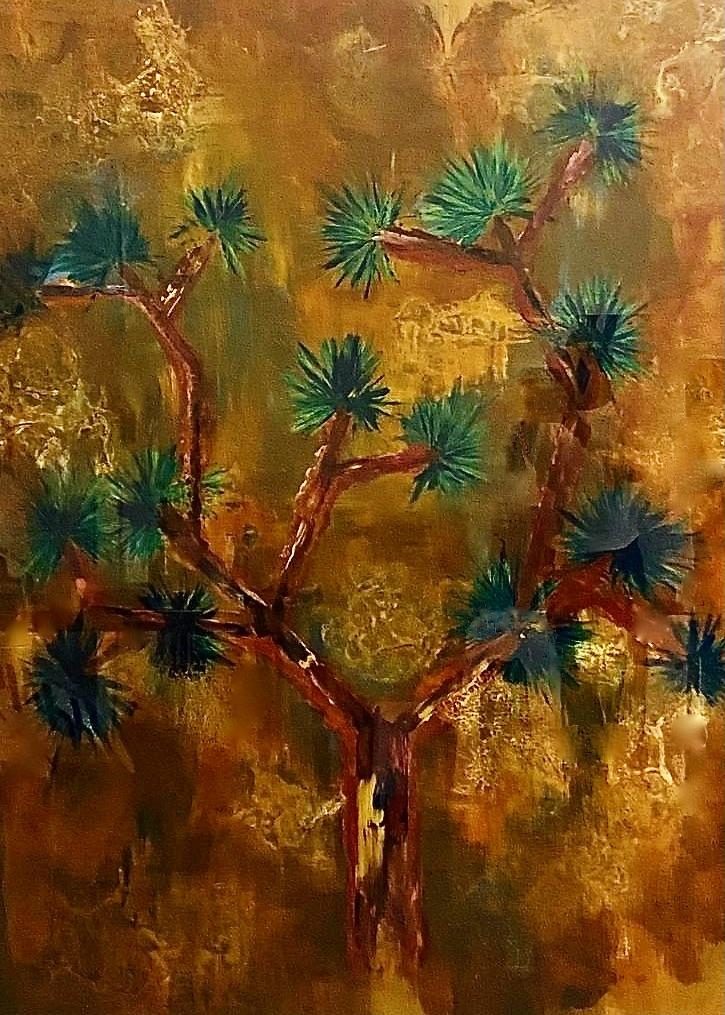 "Joshua Tree  (Back Painted Glass) 56"" x 76"""
